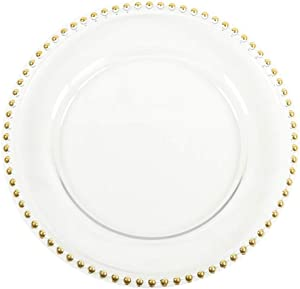 Koyal Wholesale Clear Glass Beaded Couture Charger Plates, Gold, 4-Pack Round 13-Inch Party Plates