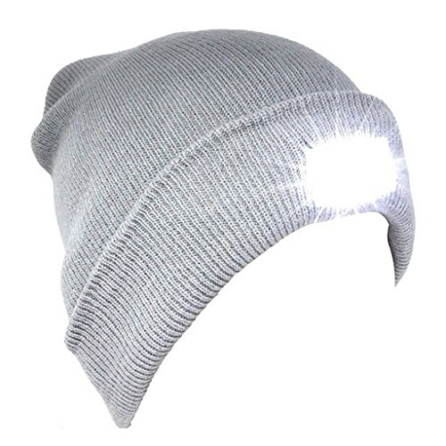 5 LED Hands Free Unisex Lighted Beanie Cap/Hat Power Stocking - 12000MCD of Flashlight for Outdoors Sports,Hunting, Camping, Grilling, Jogging, Fishing, Handyman Working (Gray) ()