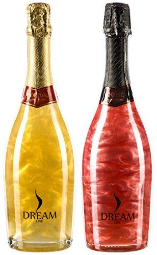 Dreamline Fortune und Rosé Premium im 2er-Probierset, perlender halbtrockener Schaumwein mit faszinierendem Metallic-Effekt (2 x 0.75 l)