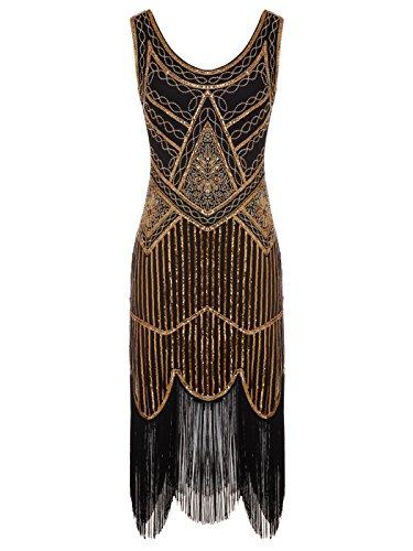con Bordado COUPLE Gatsby de Negro FAIRY Bordado con 1920S Hem Cuentas D20S001 Vestido Lentejuelas qwIWWgS4