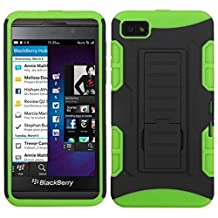 MYBAT ABB10HPCSAAS903NP Advanced Rugged Armor Hybrid Combo Case with Kickstand for BlackBerry Z10, Retail Packaging, Black/Electric Green Car