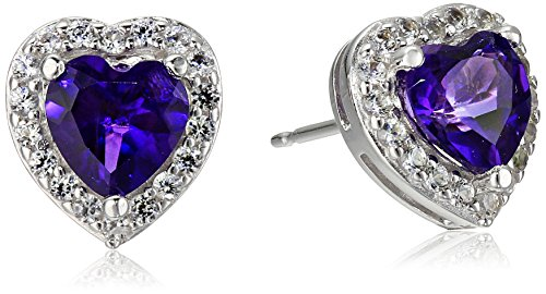 Sterling Silver Genuine African Amethyst and Created White Sapphire Halo Heart Stud Earrings (Amethyst Sapphire Stud)