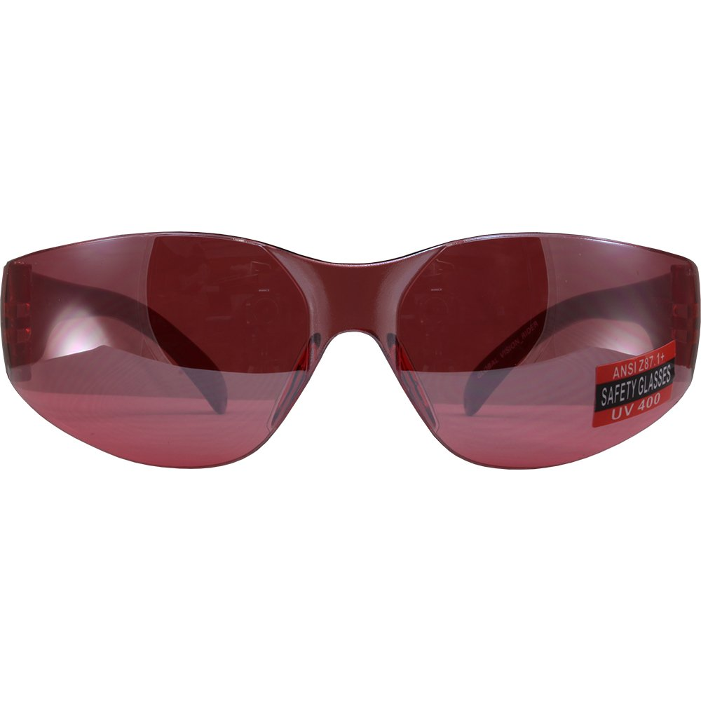 Global Vision Eyewear Unisex-Adult Global Vision Rider Safety Motorcycle Riding Sunglasses Frame Red Mirror Lens Z87.1 Large//12 RIDERRDM