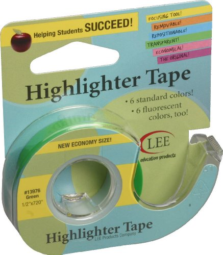 Lee Products Co. 1/2-Inch Wide 720-Inch Long Removable Highlighter Tape, Economy Size with Refillable Dispenser, Green (13976)