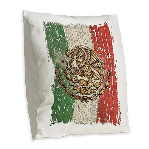 Burlap Throw Pillow Large Mexican Flag Mexico Grunge by Royal Lion