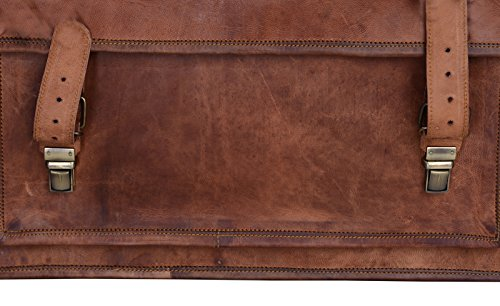 PL 18 Inch Vintage Handmade Leather Messenger Laptop Bag