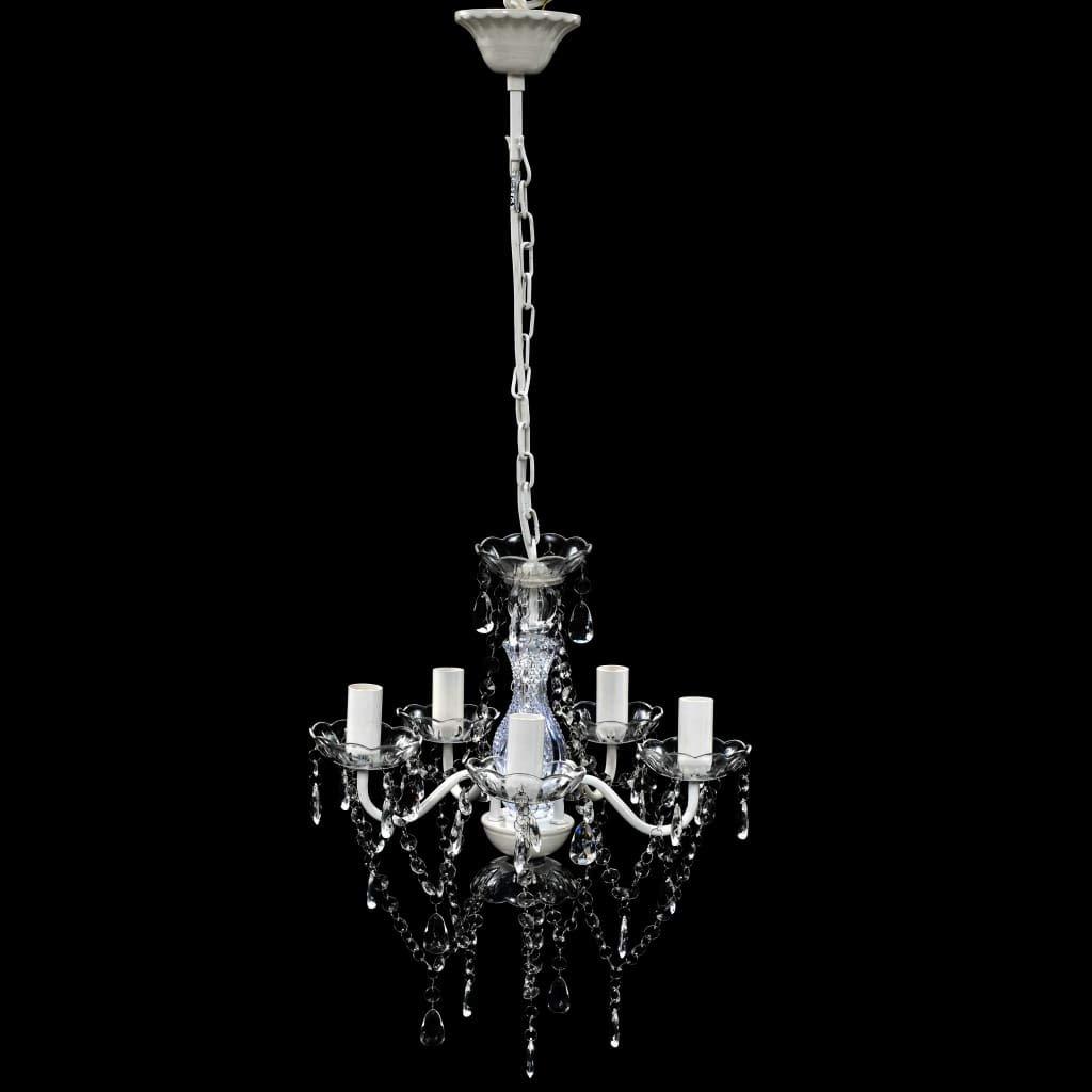Festnight Lampadario in plastica a Cristalli Artificiali Nero 5 luci