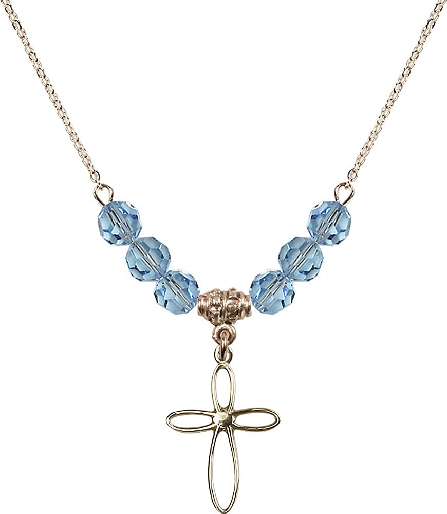 18-Inch Hamilton Gold Plated Necklace with 6mm Aqua Birthstone Beads and Gold Filled Loop Cross Charm.