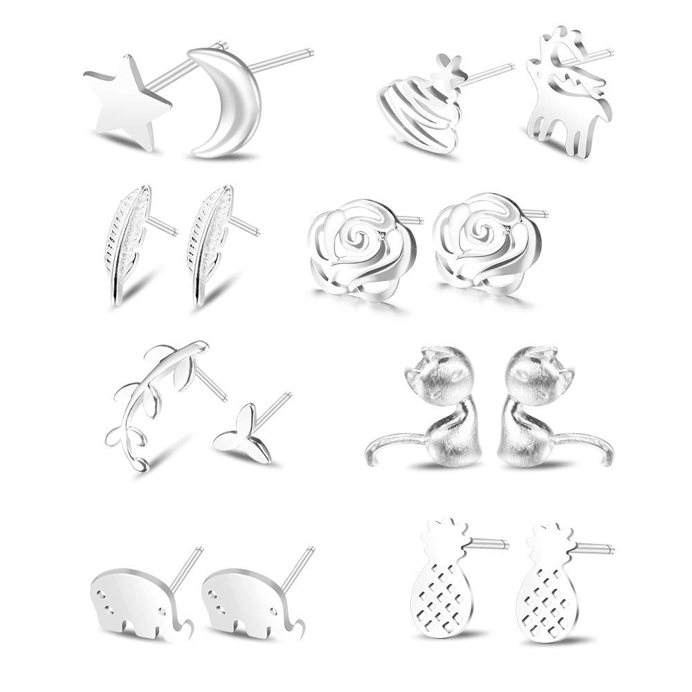 SUNNYOUTH 8 Pairs S925 Sterling Silver Stud Earrings Set Hypoallergenic Moon Star Leaf Flower Cat Stud Ear Jackets for Women Girls for Sensitive Ears