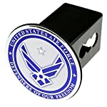US Military Metal Chrome Emblem on Metal Trailer Hitch Cover (Fits 2″ Receivers, United States Air Force)