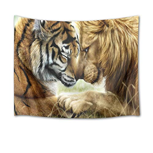 HVEST Tiger and Lion Tapestry Closed Friend Wall Hanging Wild Animal Tapestries for Bedroom,Living Room,Dorm Party Wall Decor,60Wx40H ()
