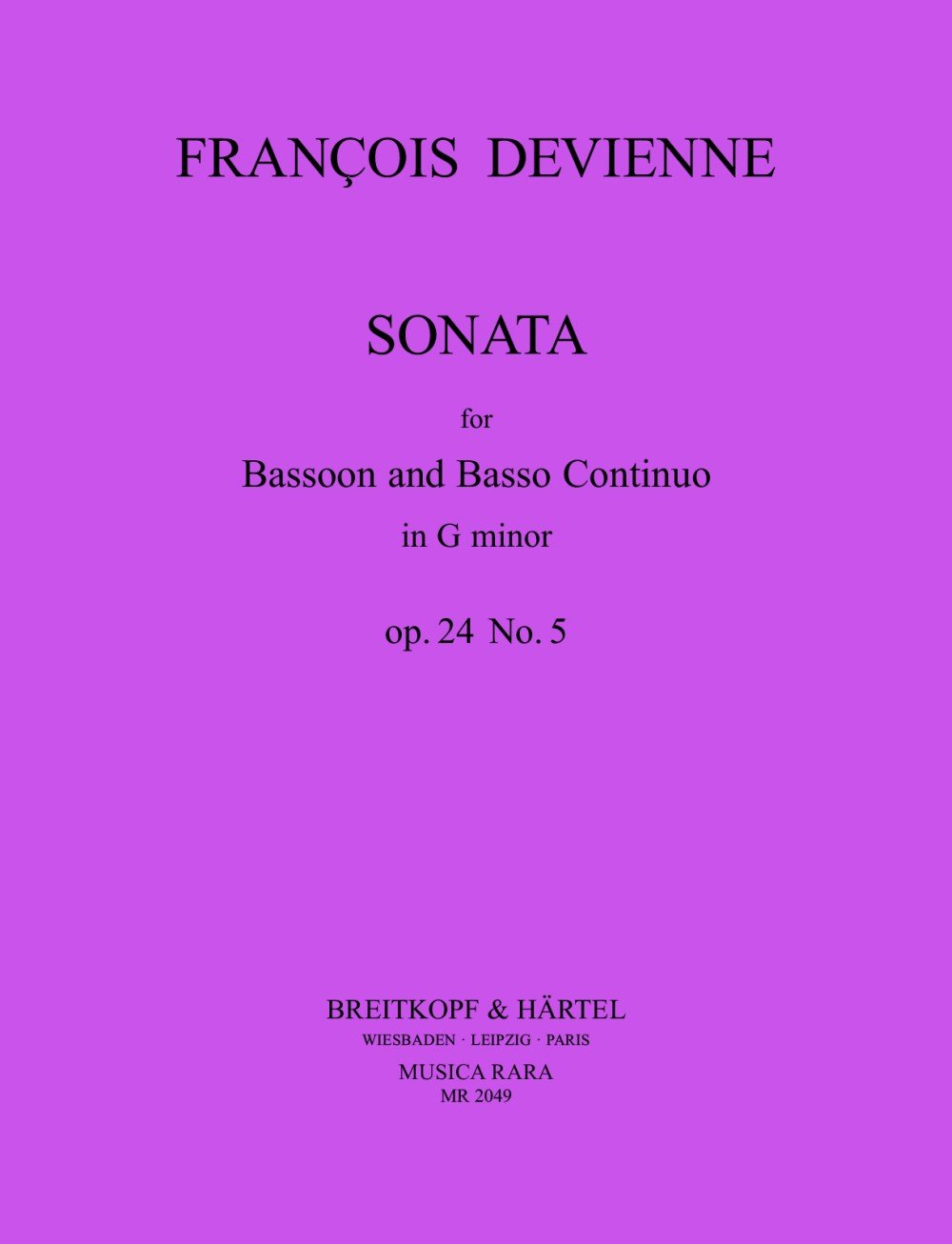 Sonate in G Op. 24 Nr. 5 (Allemand) Partition – 1 janvier 2000 François Devienne Breitkopf B007DGRSSG MR2049