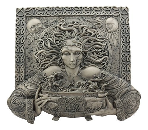 - Ebros Celtic Goddess of Rebirth Cerridwen With Magical Potions Cauldron Wall Decor Hanging Sculptural Plaque