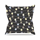 Kess InHouse Marta Olga Klara Fairy Lights Love Bokeh Outdoor Throw Pillow, 18'' x 18''