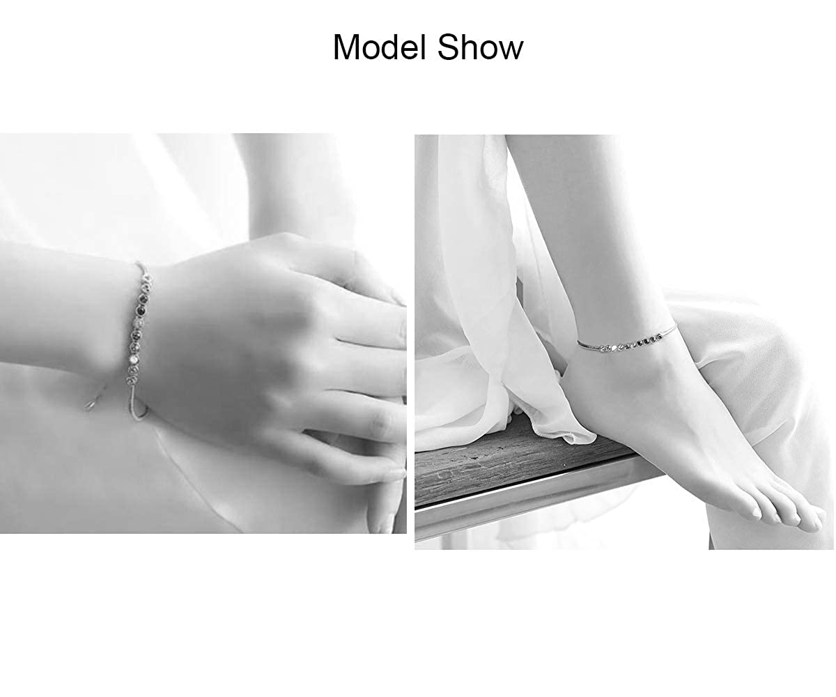 SiBeXu 18k White or Rose Gold Plated with Austria Crystal Bangle Bracelet Anklet with Lobster Clasp for Women or Girls