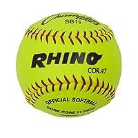"""Champion Sports 11 """"Softbols oficiales: Balón de Softbol Juvenil de lanzamiento rápido de 11 pulgadas para juegos, práctica y entrenamiento - Optic Yellow Syntex Cover - Paquete de 12"""