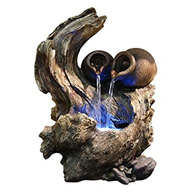 Alpine WIN634 2-Pots Cascading on Tree Branch Fountain with LED Light
