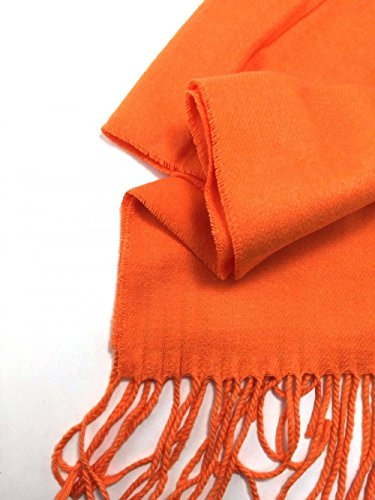 orange-scarves-warm-thick-winter-scarf-solid-scotland-wool-us-seller