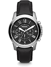 Men's Grant Quartz Stainless Steel and Leather Chronograph Watch, Color: Silver-Tone, Black (Model: FS4812)