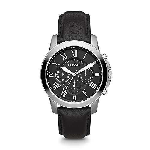 Black Dial Automatic Chronograph Watch - Fossil Men's Grant Quartz Stainless Steel and Leather Chronograph Watch, Color: Silver, Black (Model: FS4812IE)