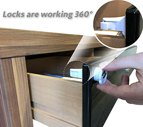 Baby Safety Magnetic Locks | Drill-Free, no Tools, no Screws | 8 Locks + 2 Keys | Child proofing for Cabinets Doors Drawers Cupboards | Invisible on Furniture | Easy to Install, Self-Adhesive 3M Tape by KAMAF SAFETY (Image #2)