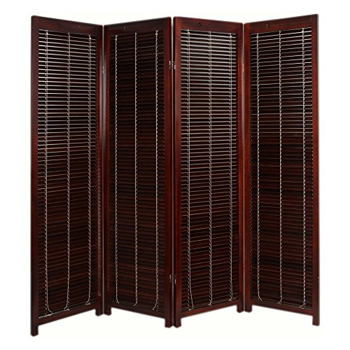 Finley Home Tranquility Wooden Shutter Screen Room Divider - 4 Panel - ()