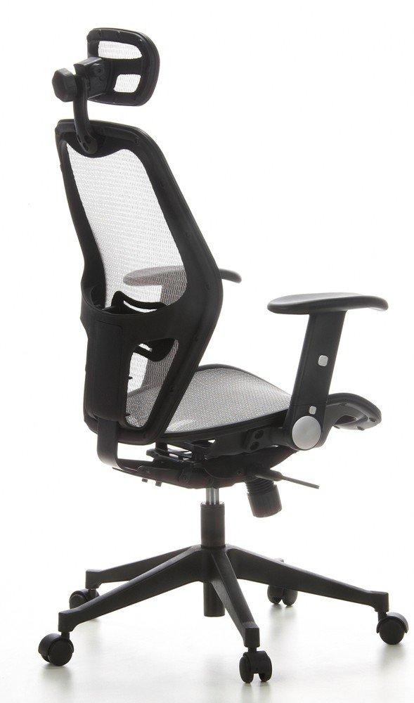 hjh OFFICE 653040 silla de oficina AIR-PORT tejido de malla gris plateado, apoyabrazos plegables, soporte lumbar, apoyacabezas, inclinable, sillón ...