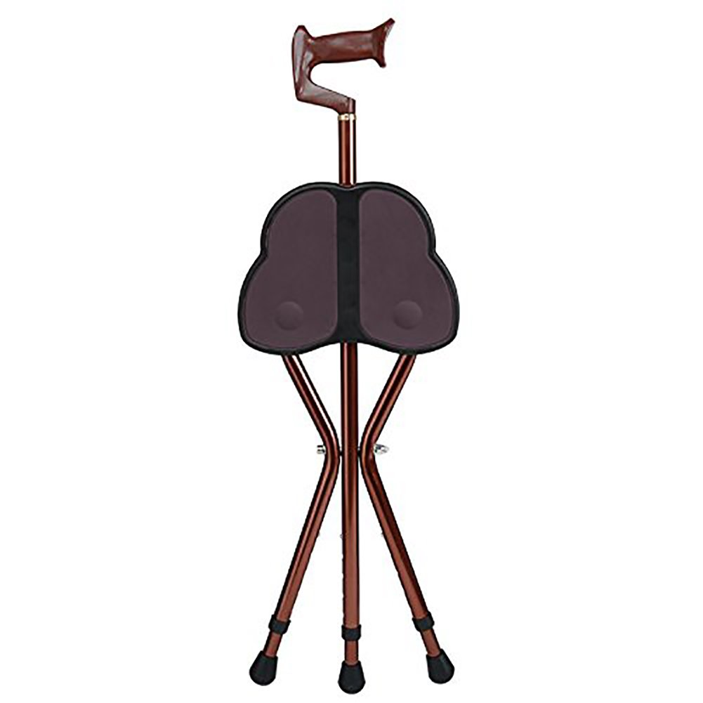 The Elderly Man With A Crutch Stool Tripod Seat Stick Multifunction Telescopic Folding Walking Aid Cane Chair, brown by YaDe