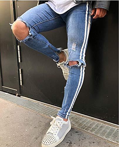 Hibasing Cremallera del Agujero Roto de los Hombres Jeans Ajustados del Dril de algodón pequeños pies