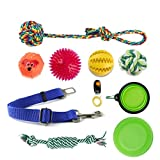 Dog Toys,Pet Feeding Ball,Cotton Ropes Toy, Dog Car Seatbelt,Pet Training clickers,Frisbee And Collapsible Pet Bowl for Small Medium Large Dogs
