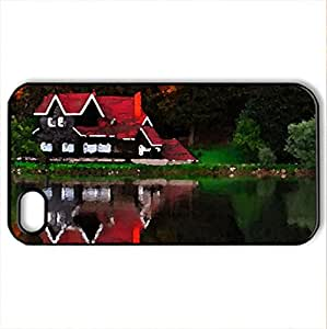 Lakeshore house - Case Cover for iPhone 4 and 4s (Houses Series, Watercolor style, Black)