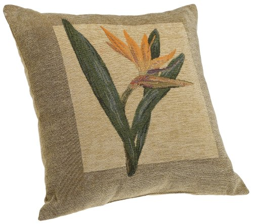 - Brentwood Panama Jacquard Chenille 18-by-18-inch Knife Edge Decorative Pillow, Bird of Paradise