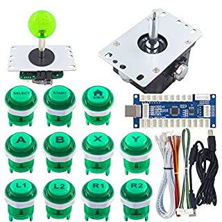 SJ@JX Arcade Game Controller Arcade DIY Kit LED 3D Flight Simulation Games Mechanical Keyboard Switch Joystick LED Button Zero Delay USB Encoder for Raspberry PC PS3 Android Retro