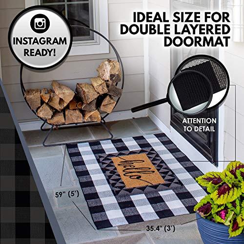 NANTA Black and White Buffalo Plaid Rug 3x5 Buffalo Check Rug Indoor Outdoor for Layered Door Mat