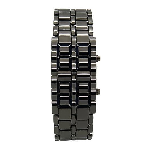 omufipw Reloj digital LED unisex estilo Lava hierro Samurai negro/plata rojo luz de metal reloj: Amazon.es: Relojes