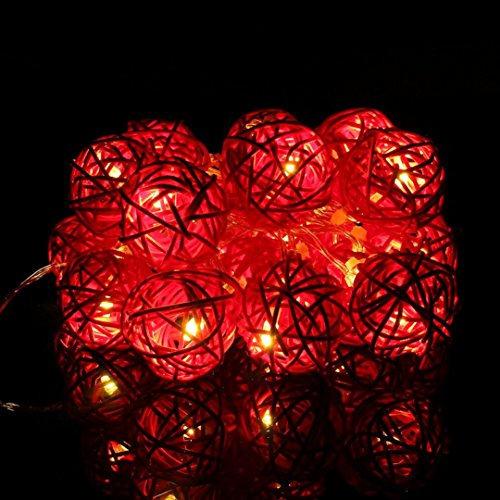 GBSELL 9.8 FT 20 LED Rattan Ball String Fairy Lights For Xmas Wedding Party Hot (Red)