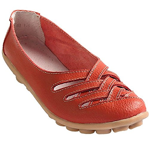 ZHIHONG Womens Ladies Casual Cut Out Leather Loafers Flat Shoes Moccasin Sandals (8US, Red)