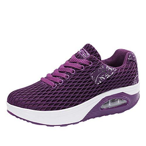 OHQ Zapatillas De Gimnasia Outdoor Mujer Zapatos Deportivos Ocasionales Zapatillas De Aire con Suela Gruesa CóModo Zapatillas De Deporte Sneakers Púrpura