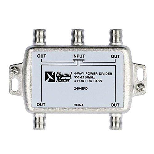 4-Way Splitter 2 GHz All Port Passive Divider Splitter 950 - 2150 MHz Commercial Grade 4 Port DC Divider High Frequency UHF VHF Satellite Power Divider, Commercial Grade