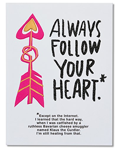 American Greetings Funny Follow Your Heart Valentine's Day Card with Glitter