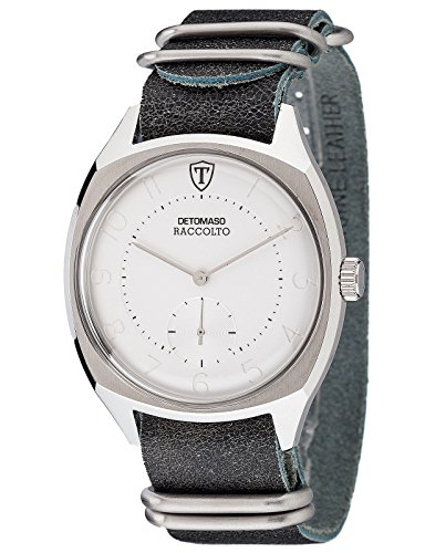 DETOMASO Raccolto Vintage Mens Wrist Watch Quartz Silver Stainless Steel Casing Black Leather Strap DT1077-C
