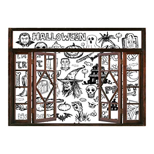(SCOCICI Wall Mural, Window Frame Mural/Vintage Halloween,Hand Drawn Halloween Doodle Trick or Treat Knife Party Severed Hand Decorative,Black White/Wall Sticker)