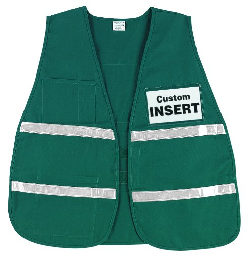 MCR Safety ICV208 Incident Command Polyester/Cotton Safety Vest with 1-Inch White Reflective Stripe, Green