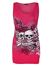 Womens Forever Young Skull Print Racer Back Vest Ladies Top