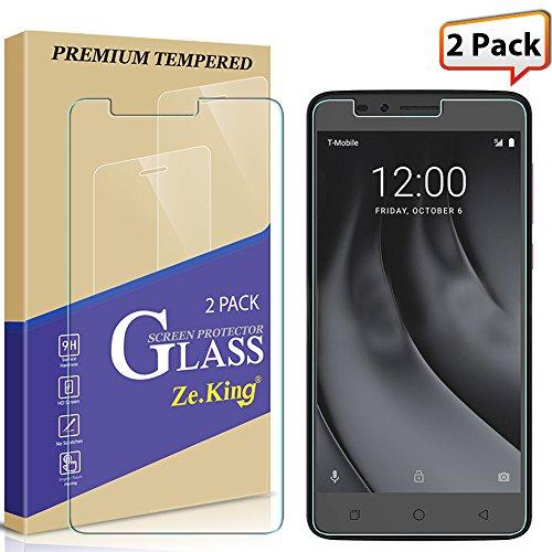 [2-Pack] T-Mobile Revvl Plus Screen Protector, Zeking Tempered Glass Drop Defence [Anti Scratch][Anti-Fingerprint] Bubble Free, Lifetime Replacement Warranty