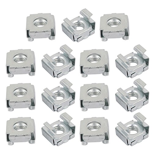 - uxcell 15pcs M8 Carbon Steel Zinc Plated Cage Nut Silver Tone for Server Shelf Cabinet