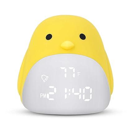 DAYOO Kids Alarm Clock, Childrens Sleep Trainer, Cute Chick Alarm Clock for Girls Boys, Kids Night Light Clock with 3 Color Changing, Kids Bedroom ...