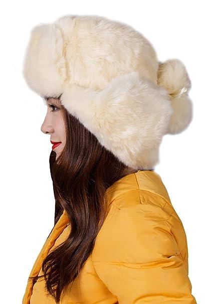 0f9b5722 Women Faux Fur Trapper Hat Windproof Russian Cossack Winter Warm Earmuff  Ushanka Trooper for Skiing, Snowboarding, Cycling, Hiking and Motorcycling  Beige: ...
