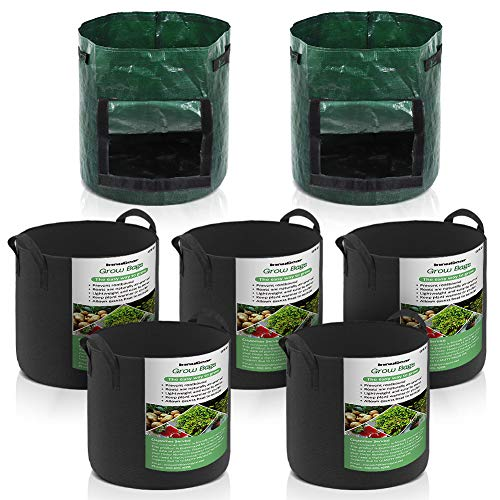InnoGear Grow Bags, 7 Gallon Aeration Fabric Tomato Plant Vegetable Flower Potting Bag with Handles and 8 Gallon PE Woven Potato Bag for Gardening Nursery Home Decoration, Pack of 7