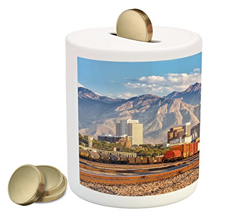 Landscape Coin Box Bank By Ambesonne  Downtown Salt Lake City Skyline In Utah Usa Railroads Mountains Buildings Urban  Printed Ceramic Coin Bank Money Box For Cash Saving  Multicolor